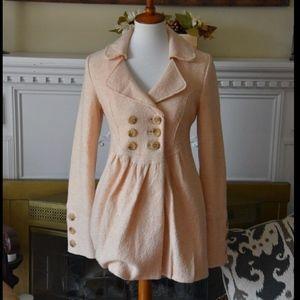 Free People Peach Pink Wool Jacket Size XS